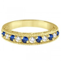 Blue Sapphire & Diamond Ring Anniversary Band 14k Yellow Gold (0.30ct)