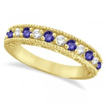 Tanzanite & Diamond Ring Anniversary Band 14k Yellow Gold (0.30ct)