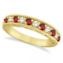 Ruby & Diamond Ring Anniversary Band 14k Yellow Gold (0.30ct)