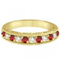 Ruby & Diamond Ring Anniversary Band 14k Yellow Gold (0.30ct)