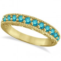 Blue Diamond Wedding Band in 14k Yellow Gold (0.45 ctw)