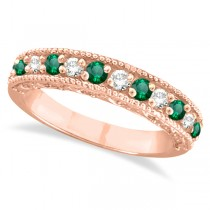 Designer Diamond and Emerald Ring Band in 14k Rose Gold (0.59 ctw)