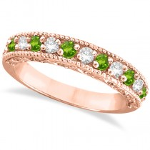 Diamond & Peridot Band Filigree Design Ring 14k Rose Gold (0.60ct)