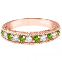 Diamond & Peridot Band Filigree Design Ring 14k Rose Gold (0.60ct)