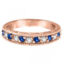 Diamond & Blue Sapphire Ring Anniversary Band 14k Rose Gold (0.59ct)