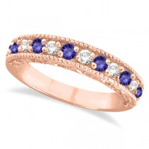 Diamond & Tanzanite Band Filigree Design Ring 14k Rose Gold (0.60ct)