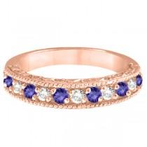 Diamond & Tanzanite Band Filigree Design Ring 14k Rose Gold (0.60ct)