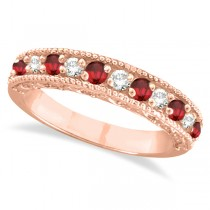 Diamond and Ruby Ring Anniversary Band 14k Rose Gold (0.59ct)