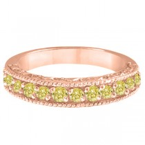 Fancy Yellow Canary Diamond Ring Band 14k Rose Gold  (0.50ct)