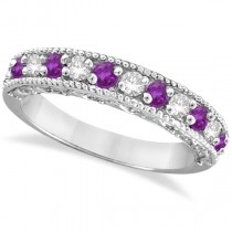 Diamond & Amethyst Band Filigree Design Ring 14k White Gold (0.60ct)