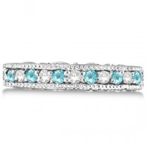 Diamond & Aquamarine Band Filigree Design Ring 14k White Gold (0.60ct)