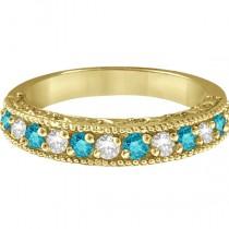 Blue & White Diamond Wedding Band in 14k Yellow Gold (0.45 ctw)