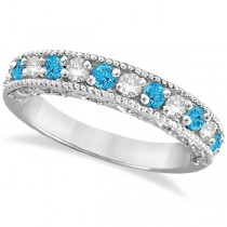 Blue Topaz & Diamond Band Filigree Ring Design 14k White Gold (0.60ct)