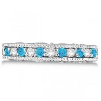 Blue Topaz & Diamond Band Filigree Ring Design 14k White Gold (0.60ct)