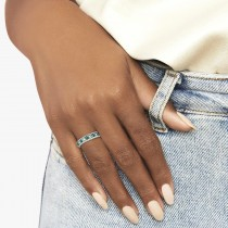 Designer Diamond and Emerald Ring Band in 14k White Gold (0.59 ctw)|escape