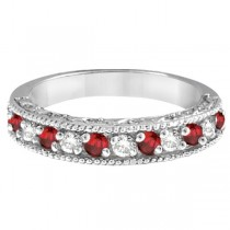 Diamond and Garnet Ring Anniversary Band 14k White Gold (0.59ct)