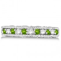 Diamond & Peridot Band Filigree Design Ring 14k White Gold (0.60ct)