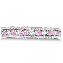 Designer Diamond and Pink Sapphire Ring in 14K White Gold (0.61 ctw)