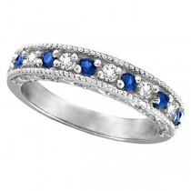 Diamond & Blue Sapphire Ring Filigree Milgrain Band Palladium (0.59ct)