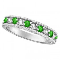 Designer Diamond and Tsavorite Ring Band in 14k White Gold (0.59 ctw)