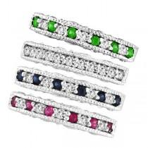 Designer Diamond and Tsavorite Ring Band in 14k White Gold (0.59 ctw)