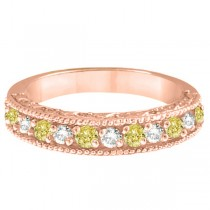 Fancy Yellow Canary & White Diamond Ring Band 14k Rose Gold (0.50ct)