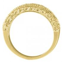 Diamond & Tanzanite Band Filigree Design Ring 14k Yellow Gold (0.60ct)