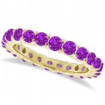 Purple Amethyst Eternity Ring Band 14k Yellow Gold (1.07ct)