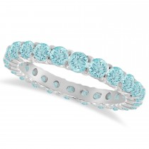Aquamarine Eternity Ring Band 14k White Gold (1.07ct)
