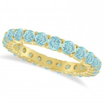 Aquamarine Eternity Ring Band 14k Yellow Gold (1.07ct)