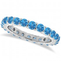 Blue Topaz Eternity Ring Band 14k White Gold (1.07ct)