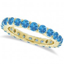Blue Topaz Eternity Ring Band 14k Yellow Gold (1.07ct)