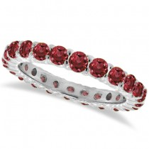 Red Garnet Eternity Ring Band 14k White Gold (1.07ct)