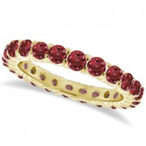 Red Garnet Eternity Ring Band 14k Yellow Gold (1.07ct)