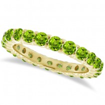 Peridot Eternity Ring Band 14k Yellow Gold (1.07ct)