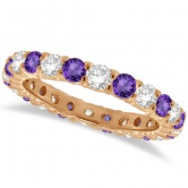 Purple Amethyst & Diamond Eternity Ring Band 14k Rose Gold (1.07ct)
