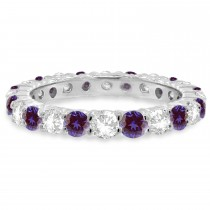 Purple Lab Alexandrite & Diamond Eternity Ring Band 14k White Gold (1.07ct)