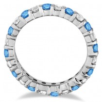 Fancy Blue & White Diamond Eternity Ring Band 14k White Gold (1.07ct)