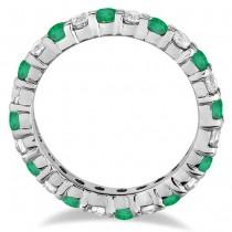 Emerald & Diamond Eternity Ring Band 14k White Gold (1.07ct)