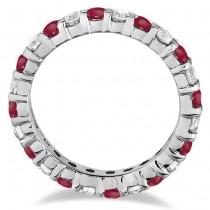 Red Garnet & Diamond Eternity Ring Band 14k White Gold (1.07ct)