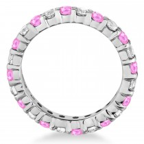 Pink Sapphire & Diamond Eternity Ring Band 14k White Gold (1.07ct)