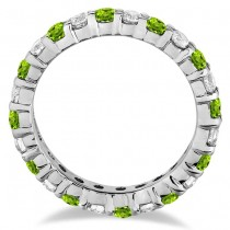 Peridot & Diamond Eternity Ring Band 14k White Gold (1.07ct)