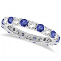Tanzanite & Diamond Eternity Ring Band 14k White Gold (1.07ct)