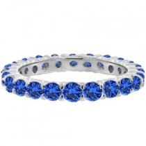 Blue Sapphire Eternity Ring Anniversary Band 14k White Gold (1.07ct)