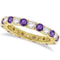 Purple Amethyst & Diamond Eternity Ring Band 14k Yellow Gold (1.07ct)