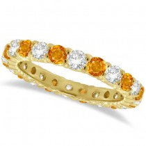 Citrine & Diamond Eternity Ring Band 14k Yellow Gold (1.07ct)
