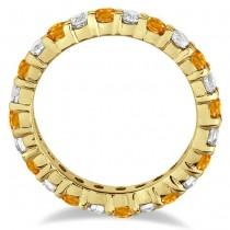 Citrine & Diamond Eternity Ring Band 14k Yellow Gold (1.07ct)