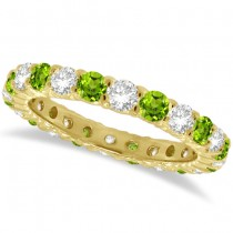 Peridot & Diamond Eternity Ring Band 14k Yellow Gold (1.07ct)