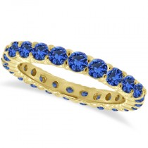 Blue Sapphire Eternity Ring Anniversary Band 14k Yellow Gold (1.07ct)