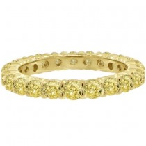 Fancy Yellow Diamond Eternity Ring Anniversary Band 14k Gold (1.07ct)